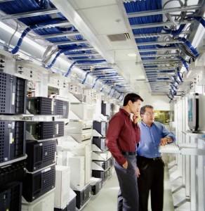 technicians in server room